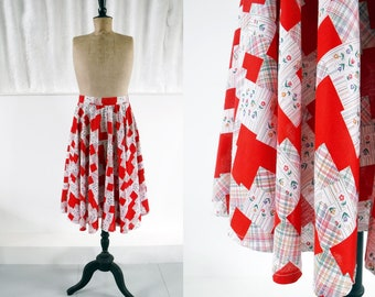 1970s Red & White Patchwork Folk Print Circle Skirt with Flowers / 70s Peasant Skirt / Vintage Circle Skirt / SIZE UK 14