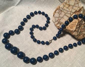 Vintage Dark blue beaded necklace - Costume Jewelry