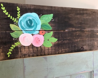 Floral wood sign/ customizable