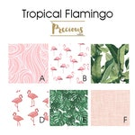 Pink Flamingo and Tropical Leaves Bedding - Premium Custom Nursery Decor and Baby Bedding - Fitted Crib Sheet, Crib Skirt, Boppy Cover