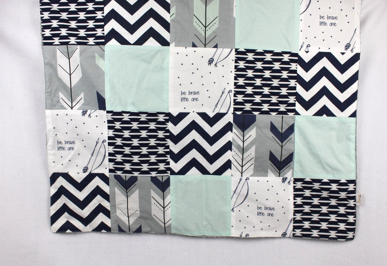 Made to order White Navy Mint and Gray Patchwork Blanket with Grey Minky Dimple Dot Backing