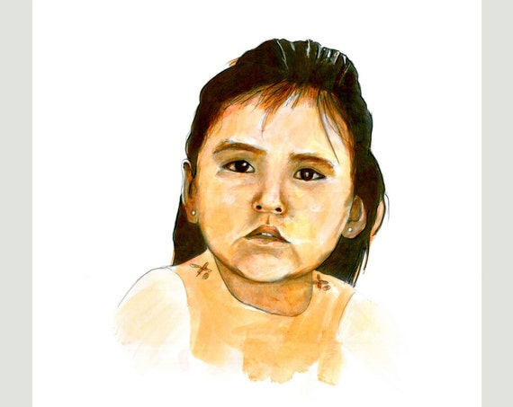 Chenoa Dove Native American Child Drawing Southwestern Prints Cards Paintings Pencil Ink Wash Sunset Earth Colors North American Indians