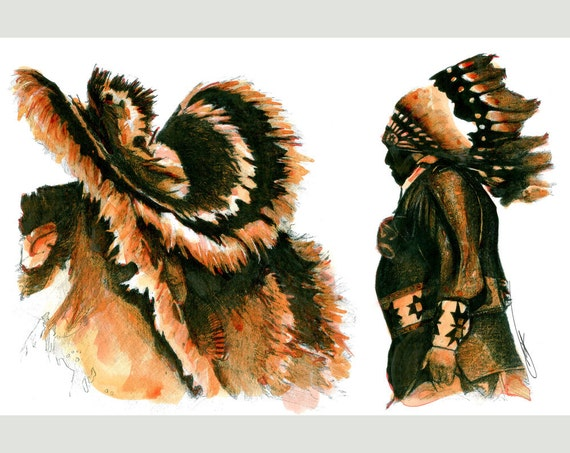FEATHERS Drawings of Native American Navajo Indian Ceremonial Dancer  Southwest Art Pencil Ink Wash North American Sunset Western Card Print