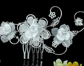 Exquisite Bridal Handmade White Flower Fabric Crystal Hair Comb (498)