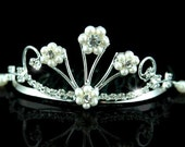 Exquisite Bridal Flower Girl Crystal Faux Pearl Mini Tiara Comb (488)