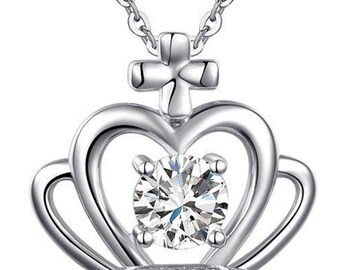 Love Heart Key 925 Sterling Silver Dangle Pendant Necklace for Wedding Cocktail Party Vintage Style 1.5 Carat Created Diamond 8086