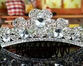 Exquisite Bridal Flower Girl Crystal Mini Tiara Comb (494)