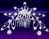 Exquisite Crystal Rhinestone Flower Tiara Comb (475)