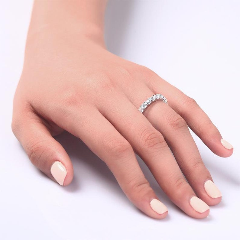 Solid 925 Sterling Silver Wedding Band Eternity Stacking Wedding Engagement Promise Cocktail Party Ring Jewelry Round Cut 8061