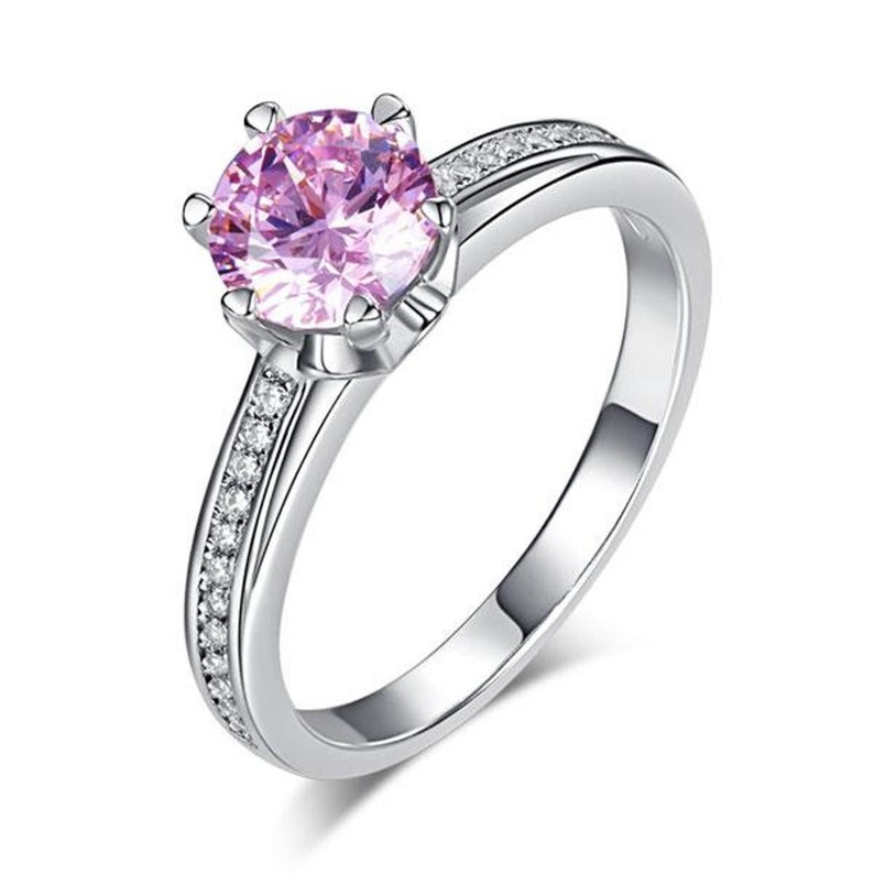 6 Claws 925 Sterling Silver Wedding Engagement Anniversary Promise Cocktail Party Ring 1.25 Ct Fancy Pink Created Diamond Jewelry 8256