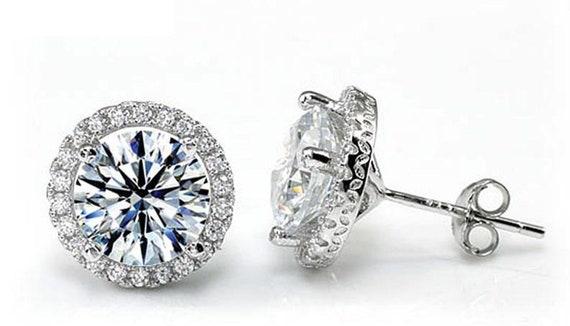 a73a6938b288c1 2 Carat Round Cut Created Diamond Halo Stud 925 Sterling | Etsy