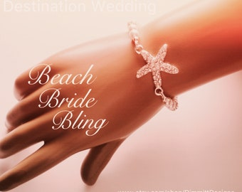Starfish Bride Bracelet, Beach Wedding Jewelry, Beach Bride Starfish Jewelry, Destination Wedding, White Pearl Rhinestone Bracelet, Bridal