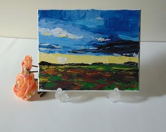 Original Acrylic Painting Sunrise Landscape Wall Art Decor