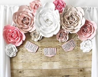 Paper Flower Backdrops - Wedding Backdrop - Bridal Shower Backdrop - Baby Shower Backdrop - Quinceanera Backdrop - Photo Backdrop