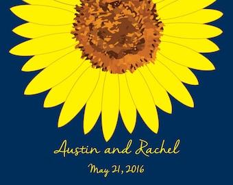 Sunflower Guest Book Alternatives/ Bridal Shower Guest Book/Flower Guest Book/Personalized Wedding Poster-20x24-Approx. 80 Signatures