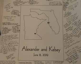 """Alternative Wedding Guest Book Poster with Two States - Unframed - 20"""" x 24"""" or 24"""" x 36""""- Guest Book Poster Print - 50-100 - 150-200 Sigs"""