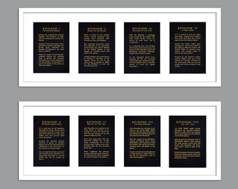All 9 Star Wars Movies - Each Episode Opening Crawl Text for Nursery/Boys Nursery/Star Wars Nursery - UNFRAMED -  Set of 9  - 5x7s or 8x10s