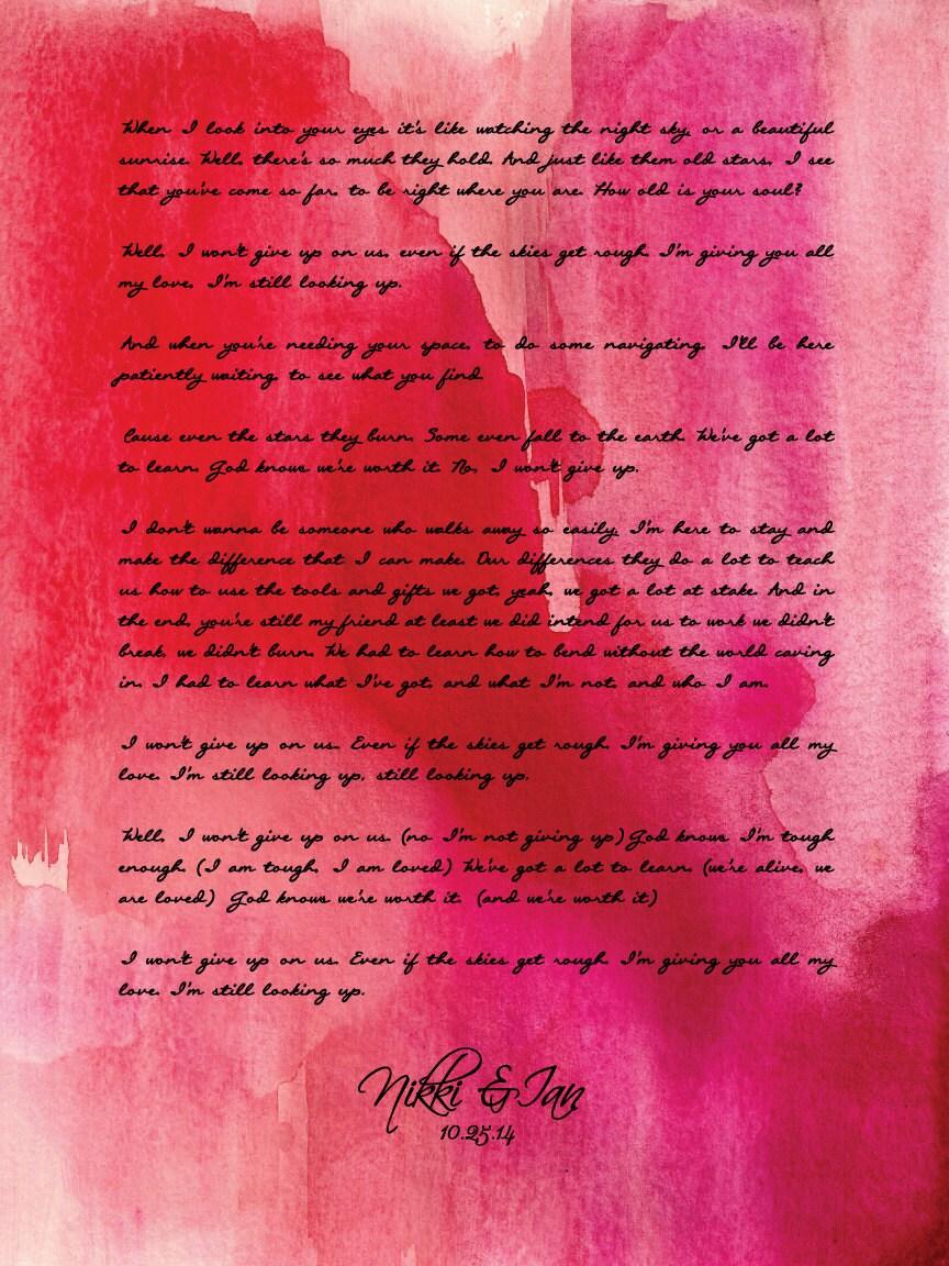 I Won\'t Give Up Jason Mraz/ Wedding Song Lyrics/ First   Etsy