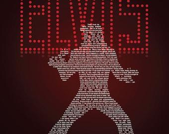 "Elvis, If I Can Dream Lyrics Poster Print - Elvis Gift - Elvis Fan -  18""x24"""