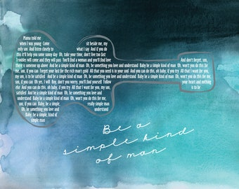Lynyrd Skynyrd Simple Man Full Lyrics /Man Cave /Rainbow Watercolor /Lyrical Art/ Retro Art/ Guitar art - 8x10 +