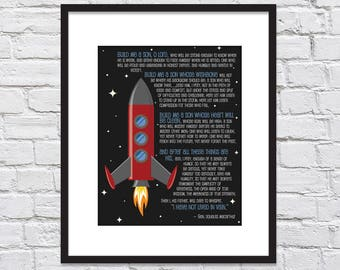 Rocket Ship / Build Me A Son, O' Lord by Gen. Douglas MacArthur/ A Father's Prayer/ Boy Nursery/ A Prayer for Son - 8x10, 11x14, and 12x16