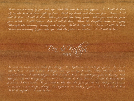 I will be here by steven curtis chapman wedding song lyrics etsy stopboris Images
