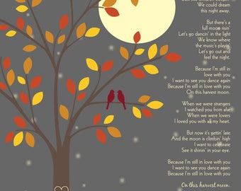 Harvest Moon by Neil Young/Anniversary gift/ First Dance Song Lyrics/ Bridal Shower Gift/ Fall Colors/ Love Birds on Branch - 8x10+