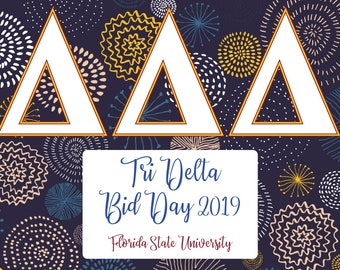 Tri Delta Bid Day Signing Poster / Choose your school colors / Personalized Sorority Poster - 24x36 - Approx 190 Sigs