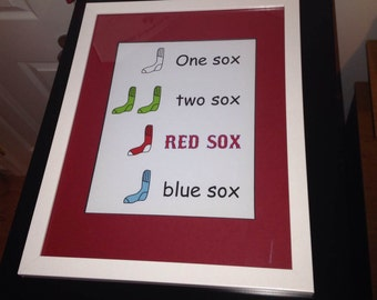 Dr. Suess One Sox Two Sox Red Sox Blue Sox/ Nursery print/ Red Sox Nursery/ Boston Red Sox / Boys nursery/ Girls nursery - 8x10 and up