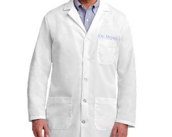 Unisex Embroidered White Lab Coat
