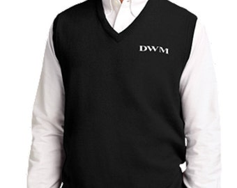 Men's Monogrammed V-Neck Sweater Vest
