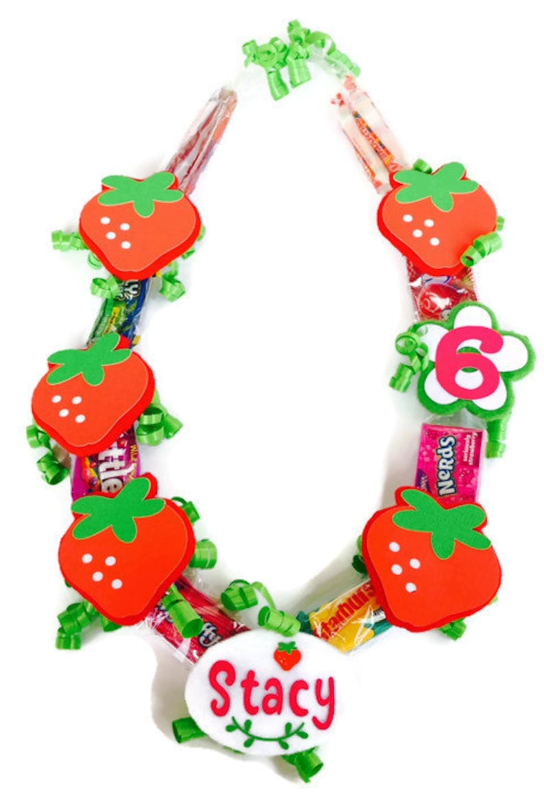 Strawberry Party Leis for Kids Strawberry Patch Strawberry Shortcake Baby Shower Strawberry Shortcake Party Strawberry Birthday