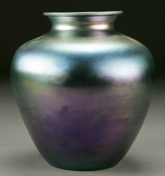 On Sale Steuben Glass Works Blue Iridescent Aurene Vase No Etsy