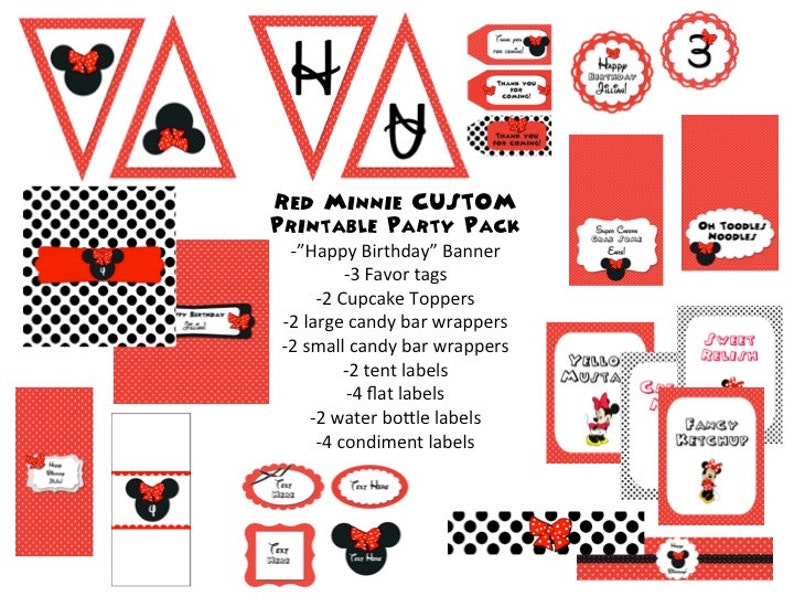 Red Minnie Mouse Customizable Printable Party Pack