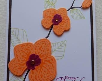 Orange Orchid Birthday Card
