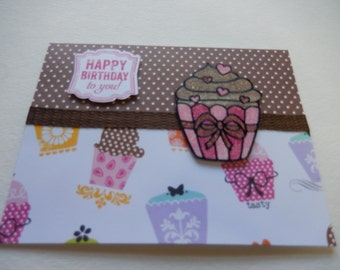 Chocolate Glitter Frosting Cupcake Birthday Card
