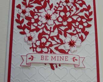 Red Lacy Heart Valentine's Card