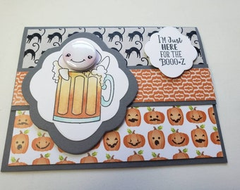 Ghost In Beer Halloween Card