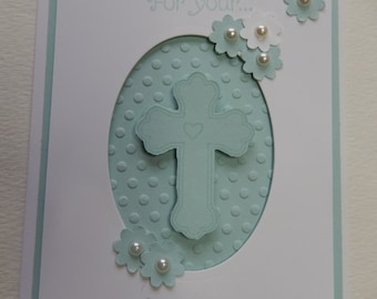 Blue Cross Baptism Card