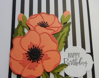 Orange Poppies Birthday Card