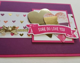 Abstract and Gold Hearts Valentine Card