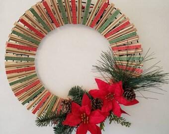 Christmas Clothes Pin Wreath