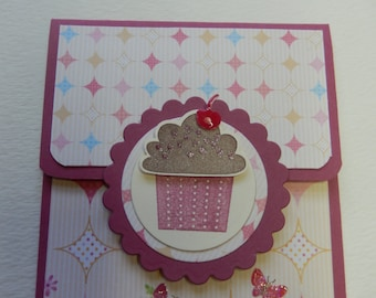 Cupcake Themed Giftcard Holder in Rose