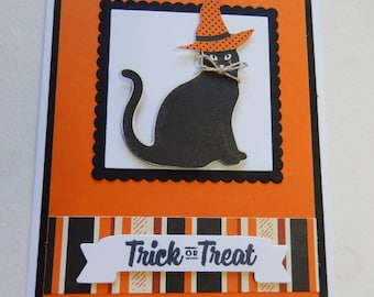 Black Cat with Witch's Hat Halloween Card