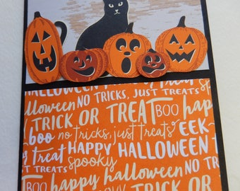 Black Cat and Jack O'Lantern Halloween Card