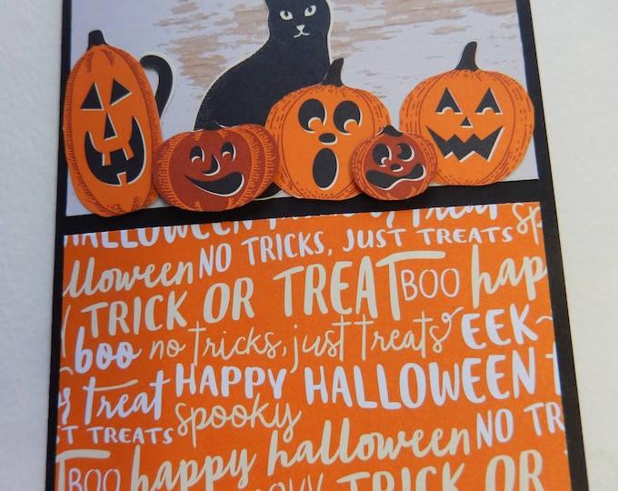 Featured listing image: Black Cat and Jack O'Lantern Halloween Card