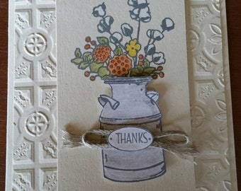 Watercolor Flowers in Jug Thanksgiving Card