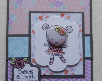 Ballerina Mouse Birthday Card