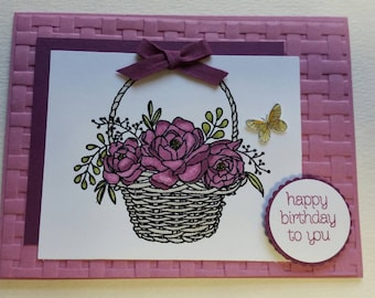 Basket of Flowers Birthday Card