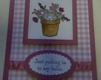 Kitty in Flower Pot Thinking of You Card